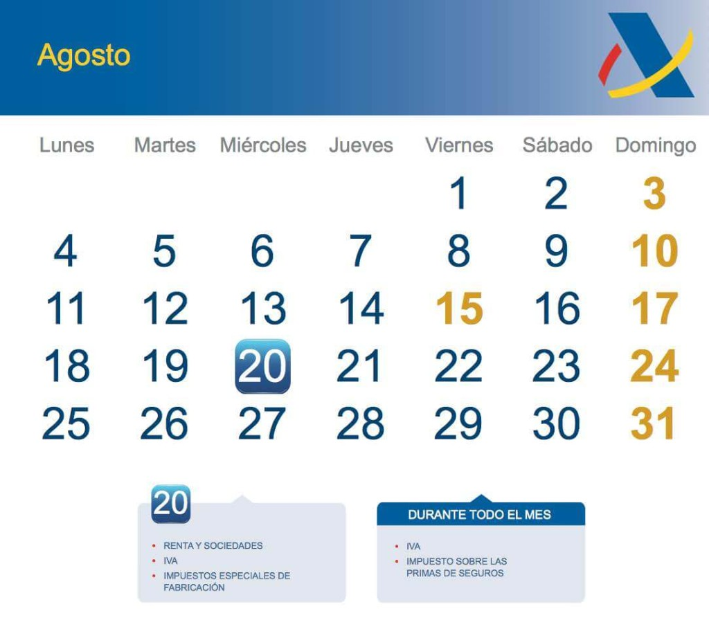 Calendario Fiscal Agosto