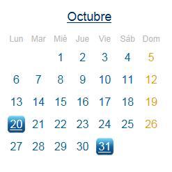 Calendario Fiscal Octubre